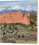 View Of Pikes Peak And Garden Of The Gods Park In Colorado Springs In Th Wood Print