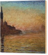 View Of San Giorgio Maggiore Venice By Twilight Wood Print by Claude Monet