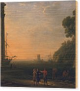 View Of Seaport Wood Print by Claude Lorrain