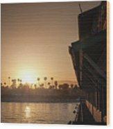 View Of Setting Sun Over Santa Barbara, Ca Wood Print