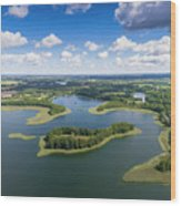 View Of Small Islands On The Lake In Masuria And Podlasie  Wood Print