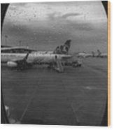 View Of The Aircraft Through The Window With Raindrops Wood Print
