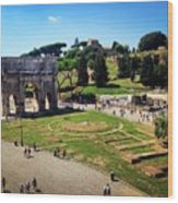 View Of The Arch Of Constantine From The Colosseum Wood Print