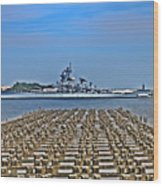 View Of The Battleship New Jersey From Philadelphia Wood Print