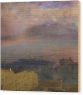 View Of The Bay Of Naples With Vesuvius Smoking In The Distance Wood Print