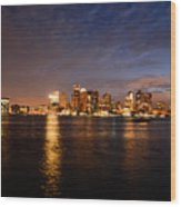View Of The Boston Waterfront At Night Wood Print