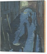 View Of The Bridge Of Sighs At Night. Wood Print