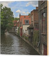 View Of The Canal From Maria Brug On Katelijnestraat In Bruges Wood Print