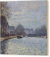 View Of The Canal Saint-martin Paris Wood Print