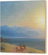 View Of The Caucasus With Mount Kazbek In The Distance Wood Print