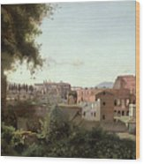 View Of The Colosseum From The Farnese Gardens Wood Print by Jean Baptiste Camille Corot