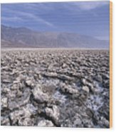 View Of The Devil's Golf Course Death Valley California Wood Print