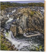 View Of The Great Falls Wood Print