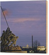 View Of The Iwo Jima Monument Wood Print by Kenneth Garrett