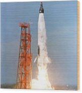 View Of The Liftoff Of Mercury-atlas 5 Wood Print