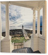 View Of The Marshall Point Lighthouse From The Keeper's House Wood Print