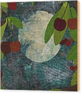 View Of The Moon And Cherries Growing On Trees At Night Wood Print by Jutta Kuss