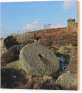 View Of The Mother Cap Gritstone Rock Formation, Millstone Edge Wood Print