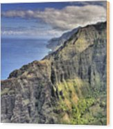 View Of The Nualolo Valley - Kauai Wood Print