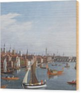View Of The River Thames With St Paul's And Old London Bridge   Wood Print by William James