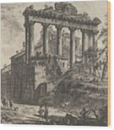 View Of The So-called Temple Of Concord With The Temple Of Saturn, On The Right The Arch Of Septimiu Wood Print