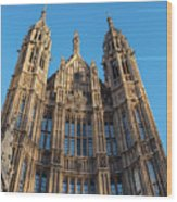 View Of The Top Detail Of The Parlament House In London Wood Print