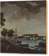 View Of The Town And Port Of Bayonne Wood Print