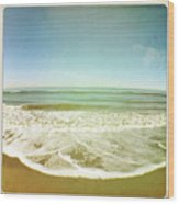 View Of Tides In Sea Wood Print by Denise Taylor
