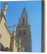 View Of Toledo Cathedral In Sunny Day, Spain. Wood Print