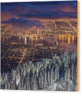 View Of Vancouver From Grouse Mountain At Sunset Wood Print