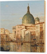 View Of Venice With San Simeone Piccolo Wood Print