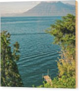 View Of Volcano San Pedro With A Crown Of Clouds In Guatemala Wood Print