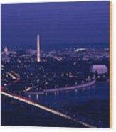 View Of Washington D.c. At Night Wood Print