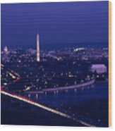 View Of Washington D.c. At Night Wood Print by Kenneth Garrett