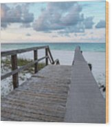 View Of White Sand And Blue Ocean From Wooden Boardwalk Wood Print