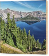 View Of Wizard Island Crater Lake Wood Print