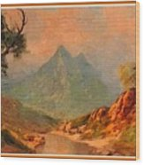 View On Blue Tip Mountain H A With Decorative Ornate Printed Frame. Wood Print