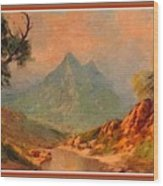 View On Blue Tip Mountain H B With Decorative Ornate Printed Frame. Wood Print