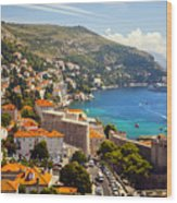View Over Dubrovnik Coastline Wood Print