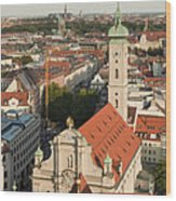 View Over Munich With Frauenkirche Wood Print by Greg Dale