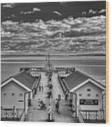View Over The Pier Mono Wood Print