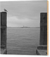View Toward Statue Of Liberty In Nyc Wood Print