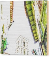 View With Bell Tower Wood Print