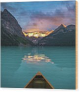 Viewing Snowy Mountain In Rising Sun From A Canoe Wood Print