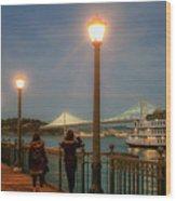 Viewing The Bay Bridge Lights Wood Print