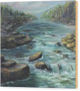 Viewing The Rapids Wood Print