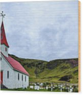 Vik Church And Cemetery - Iceland Wood Print