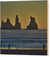 Vik Sea Stacks At Dusk - Iceland Wood Print