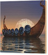 Viking Boat Wood Print