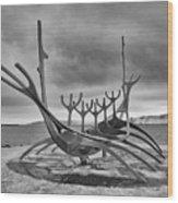 Viking Ship Sculpture Wood Print